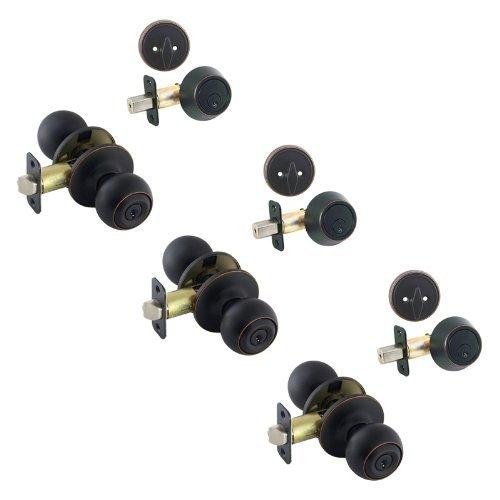 3-Ashland Öl eingerieben Bronze Eintrag Knopf mit passenden Single Zylinder Riegel Combo Packungen gleichschliessend (Wir Key Lock Bestellungen gleich, für kostenlos)