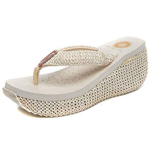 Flip Flop   Sandali con Tacco Alto, Ciabatte Infradito da Donna Antiscivolo, Pantofole da Spiaggia Comode Estive (Nere) Taglia 36-39 Havaiana (Colore : A, Size : 37)