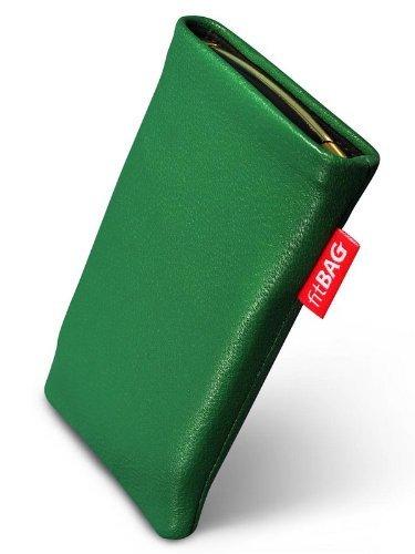 fitBAG Beat Smaragd Handytasche Tasche aus Echtleder Nappa mit Microfaserinnenfutter für Samsung SGH-X500