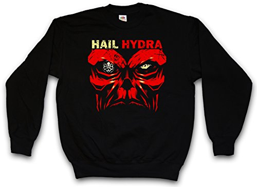 HAIL HYDRA PULLOVER SWEATER SWEATSHIRT MAGLIONE - Captain Heil Red Skull World War Comic Hero Red Captain Logo Nick SHIELD Fury America Taglie S - 5XL