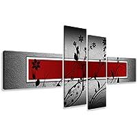 Visario 6535 - Juego de 4 cuadros combinables (160cm), color rojo