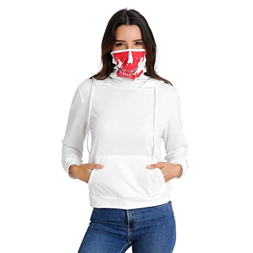 WWricotta Women Spring Winter Mask Skull Long Sleeve Hooded Sweatshirt Printed Tops Blouse(Weiß,M)