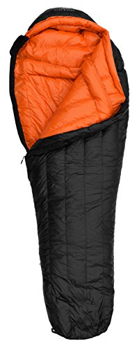 Hyke & Byke 800 Fill Power Goose Down Sleeping Bag - Eolus 15 & 0 Degree F Ultralight Mummy Bags for Backpacking, Cold Weather Camping and Hiking (-15 Degree C (Black/Clementine), Regular)