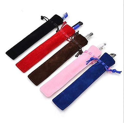 Generic red : 5Pcs New Velvet Pen Pouch Holder Single