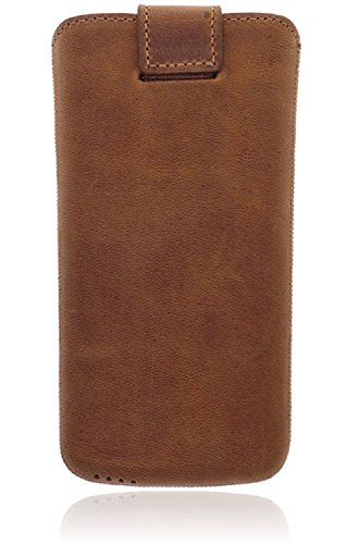 Burkley Apple iPhone X Hülle Leder Handyhülle   Handytasche   Tasche   Schutzhülle   Lederhülle   Ledertasche   Sleeve   Cover   Case   Etui   Easy-Out System   Klettverschluss (Sattel Braun) Cognac