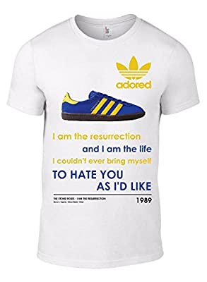 Stone Roses RESURRECTION T-Shirt with image of Adidas STOCKHOLM Trainer Band Tee