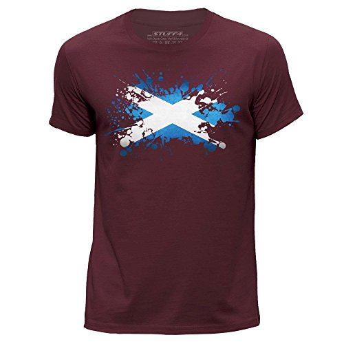 Stuff4® Herren/X groß (XL)/Burgund/Rundhals T-Shirt/Schottland Flagge Splat (Burgund Christmas Stockings)