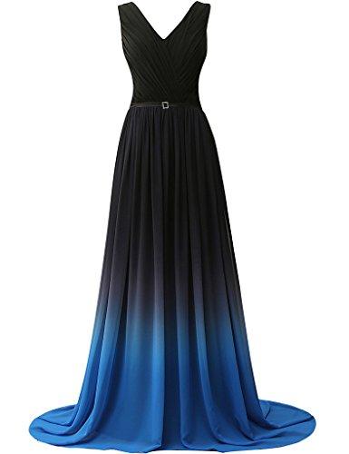 JAEDEN Donna Con scollo a V Abiti da ballo Lungo Chiffon Abito da sera Vestito da festa Blau-2 EUR 38