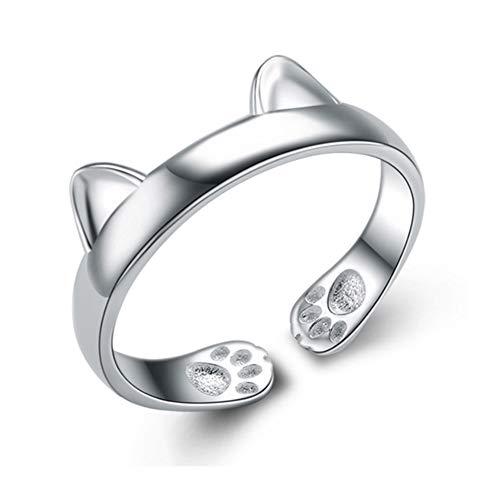 Hosaire Anillo de Plata de Orejas de Gato Estilo de la Mujer...