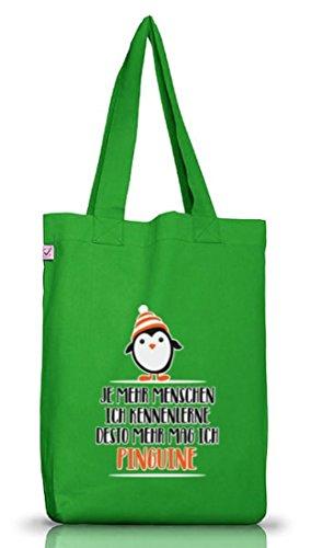 Pinguin Tierfreund Jutebeutel Stoffbeutel Earth Positive mit Menschen - Pinguine Motiv Kelly Green