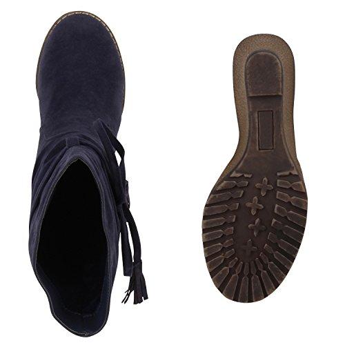 Damen Stiefel Keilabsatz Wedges Profilsohle Boots Blau