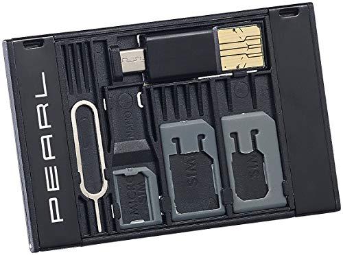 PEARL SIM Karten Adapter: SIM-Karten-Organizer mit microSD-Card-Reader für USB OTG (Micro SD SIM Card Adapter)