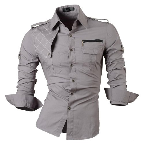 jeansian jeansian Herren Freizeit Hemden Shirt Tops Mode Langarmshirts Slim Fit 8371 Gray S