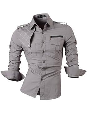 [Patrocinado]Jeansian Hombre Camisas Solid manga larga Slim Fit Moda Hombre Casual Camisas mangas largas 8371