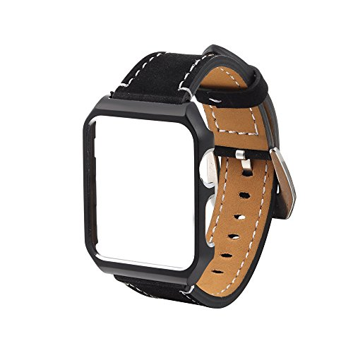 Yallylunn Leather Wrist Watch Strap with Metal Protective Case WiderstandsfäHigkeit Klassik Im Freien Sport Den TäGlichen Verschleiß Bequem for Iwatch Apple Watch 38Mm