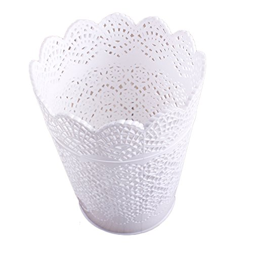 Haodou Pencil Hoder Hollow Pattern Basket Table Storage Bin Trash Can For Office Home Kitchen Bedroom Bathroom - White
