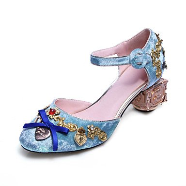 Sommer Schuhe Damen Sandalen Büro Kleid Lässig-Seide-Blockabsatz-Club-Schuhe-Schwarz Blau Rosa Black