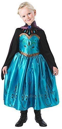 Mädchen Disney Eiskönigin Krönung Elsa oder Anna Prinzessin Buch Tag Halloween Kostüm Kleid Outfit - Elsa, (Elsa Krönung Kostüm Disney)