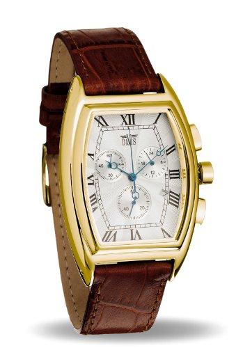 Davis 0031 - Montre Retro Homme Tonneau Acier Or Jaune Chronographe Date Bracelet en Cuir Marron