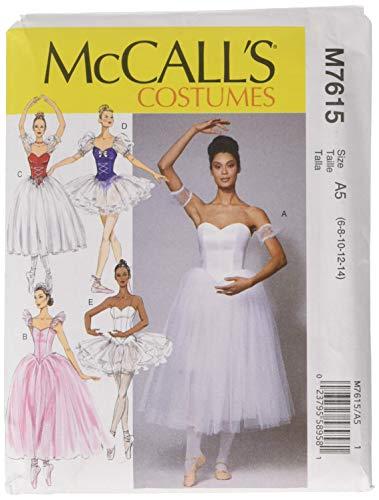 McCall 's Patterns 7615A5Schnittmuster Ballett Kostüme, Mehrfarbig, Größe - Mieder Baumwolle Kostüm
