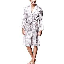 Pijama Kimonos Albornoz para Hombre Largo Camisón Robe Batas Ropa De Dormir Satín Dragón De Impresión