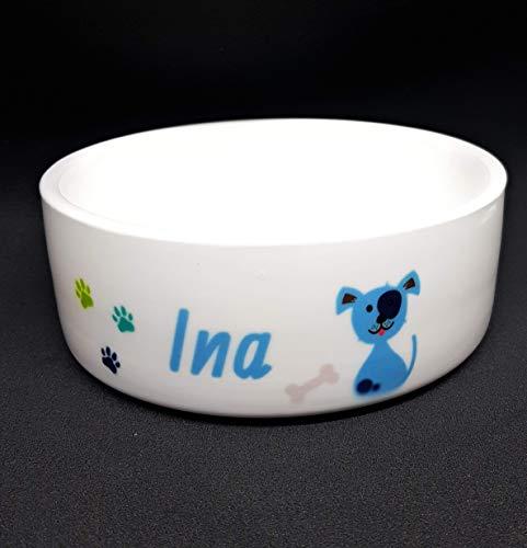 Hundenapf aus Keramik mit dem Namen ihres Hundes personalisiert, in zwei Größen