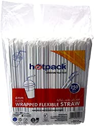 عبوات هوت باك البلاستيكية المغلفة تستخدم مرة واحدة للمشروبات - 6 ملم، 250 قطعة