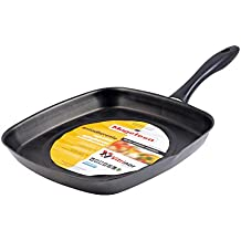 Magefesa Asador Cuadrado para cocina, sarten diametro 28 cm, color efecto espejo, válido