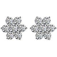 Vendita Calda Moda Carina Argento Zircon Intarsiato Fiocco Di Neve A Forma Di Orecchini