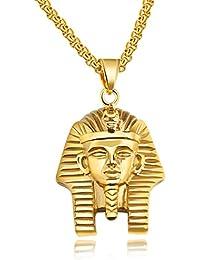 285d901aea5e Acero inoxidable antiguo egipcio faraón Tutankamón collar con cadena ...