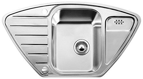 Blanco Lantos 9 E-IF, Eckspüle, Küchenspüle, für normalen und flächenbündigen Einbau, Edelstahl Bürstfinish; 516277