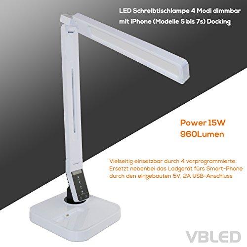 VBLED® 15W Schreibtischlampe mit iPhone Ladestation, 4x dimmbaren Lichtmodi & USB-Anschluss zum Aufladen von Smartphones, Tablets, uvm. Tisch-Leuchte für Arbeit, Büro, Lesen (15 Watt, Weiß)