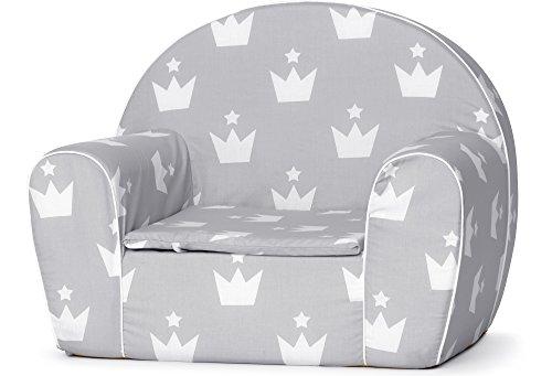 Ladeheid Kindersessel Couch Bettfunktion LATE1001 (Grau/Kronen, 37 x 43 x 53 cm)