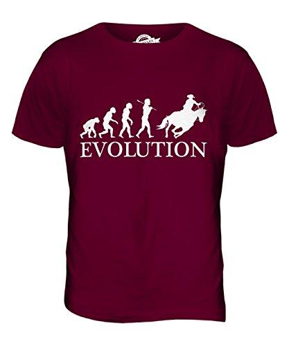 CandyMix Cowboy Evolution Des Menschen Herren T Shirt Burgunderrot