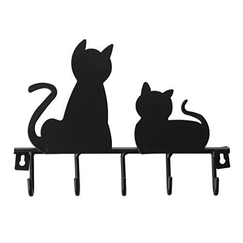 Naliovker Percha de tunica Ganchos de pared decorativo colgante de llave sombrero abrigo ropa rustico montado en puerta pared hierro metal diseno de gato negro modaColor: negroNumero de ganchos: 5Longitud: 20 cm, ancho: 15 cm, enlace con espacio libr...