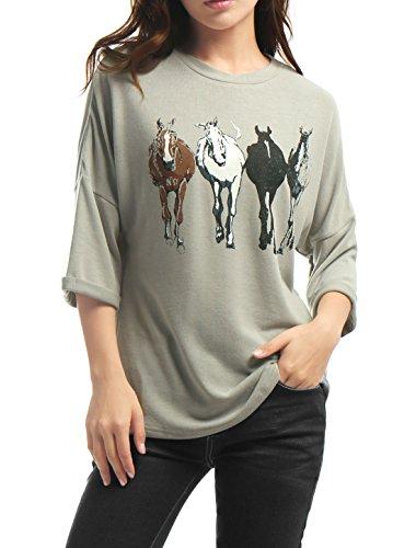 Allegra K Femme 3/4 Manche Chauve-Souris Imprimé Cheval en Vrac T-Shirt Haut gray