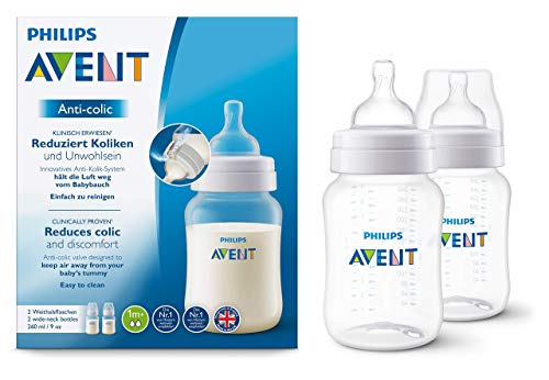 Philips Avent Anti-colic Flasche SCF813/27, 260ml, 2er Pack, mit AirFree Ventil kompatibel, transparent
