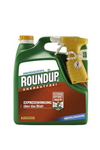 Roundup AC Unkrautfrei, Anwendungsfertiges Spray zur Bekämpfung von Unkräutern, Gräsern und Moos, 3 Liter Sprühsystem