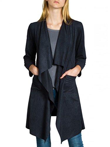 CASPAR STJ015 Damen Faux Wildleder Cardigan, Farbe:dunkelblau;Größe:S/M