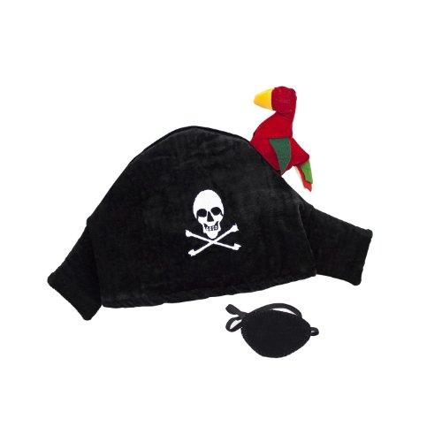 Piratenhut mit Papagei & Augenklappe, schwarz (1 Stück)