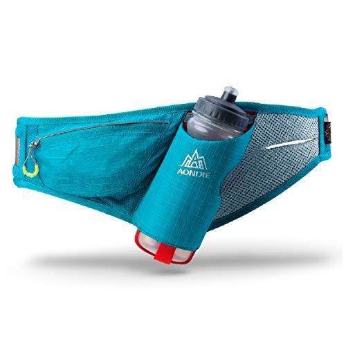 TRIWONDER Gürteltasche mit Flaschenhalter, Hüfttasche Trinkgürtel mit Trinkflasche für Laufen Joggen Damen und Herren (Blau)