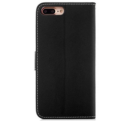 Saxonia Custodia Apple iPhone 6 Plus / 6S Plus Flip Case Cover Copertura con Portafoglio Wallet Alta Qualità Marrone-Bianco Nero-Bianco