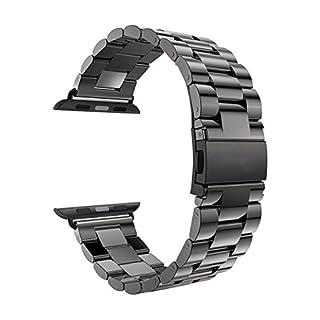 Armband für Apple iWatch Edelstahl 42mm Reparatur Ersatz, Schwarz