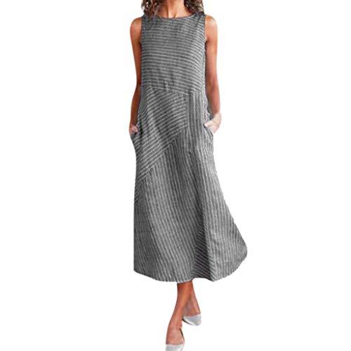 New Classic Vintage Striped Print Ärmelloses Rundhalsausschnitt Taschen Leinen A-Line Langes Kleid ()