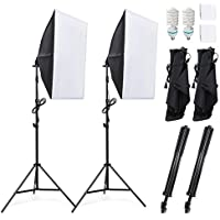 Amzdeal Softbox Set Fotostudio Studioleuchte set inkl. 2 x 50x70cm Fotostudio Softboxen 5500K Tageslicht 2x135W Fotolampe und 2 x faltbare Lampenstativ