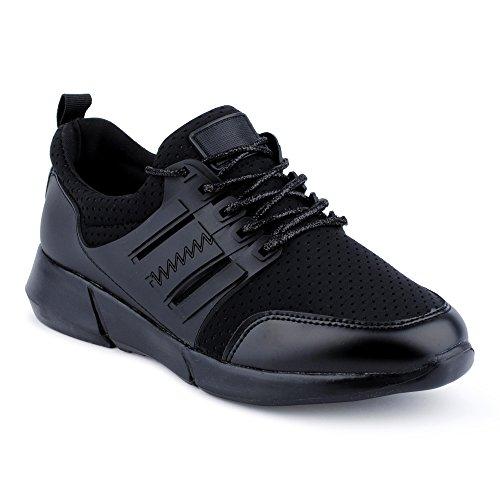 Damen Sneaker Sportschuhe Schnür Lauf Strass Lack Freizeit Glitzer Fitness Low Top Schuhe Schwarz/Schwarz