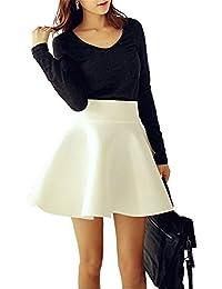Minetom Mujeres Verano Cintura Alta Elástica Plisada Falda del Tutú Casual  Delgado Minifalda Color Solido Básica e1215219f536