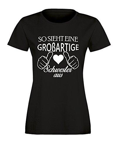 So sieht eine großartige Schwester aus - Damen Rundhals T-Shirt Schwarz/Weiss