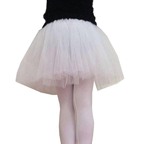 Oyedens 1pc SchöN Elastisch Erwachsener BallettröCkchenballettkleidsommertulle Rock (Weiß) (Taille, Elastische Seite Rock Schlitz)