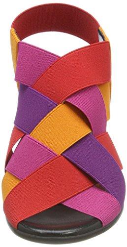 NR RAPISARDI Damen Wendy Slingback Sandalen Rot (Red/FUXIA/Orange Elastic)